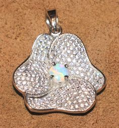 fire opal necklace pendant Gemstone silver jewelry stylish modern flower H3E #Pendant