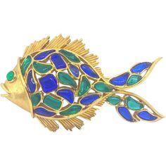 "e817b4ba4 Signed Trifari Fish Brooch ""Modern Mosaics"" by Alfred Philippe. Vintage Pins  ..."