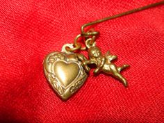 Vintage Victorian Style Heart & Angel Stick Pin by TheIDconnection