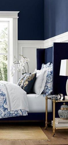 Best Modern Blue Bedroom for Your Home - bedroom design inspiration - bedroom design styles - bedroom furniture ideas - A modern theme for your bedroom could be merely attained with vibrant blue wallpaper in an abstract layout and formed bedlinen Perfect Bedroom, Blue Bedroom Decor, Bedroom Inspirations, Bedroom Interior, Blue Headboard, Navy Bedrooms, Bedroom Decor, Beautiful Bedrooms, White Decor