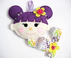 PURPLE Cheeky Dolly - felt hairclip headband organiser
