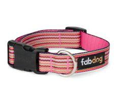 Eco Friendly Pink Thin Stripe Dog Collar