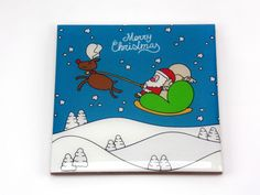 Merry Christmas Santa Sleigh Reindeer Drink Coaster Unique Gift MDF Wood Osarix