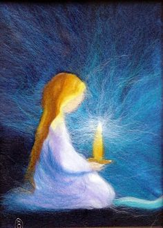 Needlefelted girl with candle