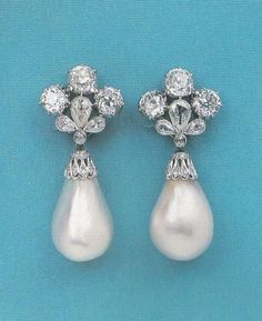 Mancini Pearl Drop & Diamond Earrings. Gift of Louis XIII to the niece of Cardinal Mazzarino.