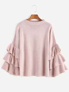 Pull-over manches volants superposé -rose-French SheIn(Sheinside)