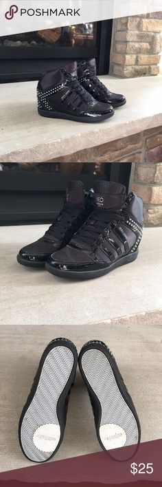 Adidas Selena Gomez BBNEO Wedge Shoes They are lightly worn. Wore them only once. They are black sneaker wedges with silver rhinestones. Collaboration of Adidas and Selena Gomez Adidas Shoes Wedges