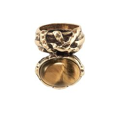 Textured burnished brass band ring with an attached oval shaped genuine tiger's eye stone. Stone is attached to the bottom of the ring in its own setting so it looks like the band and the stone are side by side  MATERIALS: