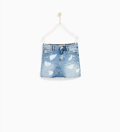 Image 2 of DENIM SKIRT WITH FAUX PEARL TRIMS from Zara