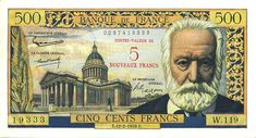 Banknotes of France French Franc, Victor Hugo, Antique Books, Coins, Vintage, Banknote, Collection, Gauche, Metals