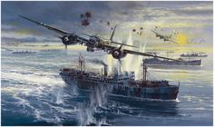 ARCTIC ENCOUNTER by Robert Bailey. July Oberst Hajo Herrmann, leading his combat group K. attacks an allied merchantman in the Barents Sea in his During this attack, five ships received direct hits and others were damaged. Signed by FOUR veterans. Luftwaffe, Air Fighter, Fighter Jets, Fighter Aircraft, Ww2 Aircraft, Military Aircraft, Military Art, Military History, Aircraft Painting
