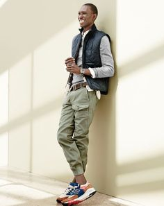 J.Crew men's textured cotton sweater in solid, Sussex quilted vest, Wallace & Barnes garment-dyed cotton patrol pant, Wallace & Barnes tannery belt and New Balance® for J.Crew 998  sneakers. (Aug. 2015)