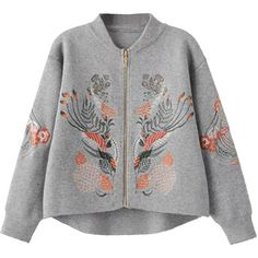 Gray Embroidery Long Sleeve Knitted Cardigan (390 GTQ) ❤ liked on Polyvore featuring tops, cardigans, embroidered cardigan, gray top, gray cardigan, cardigan top and embroidered top