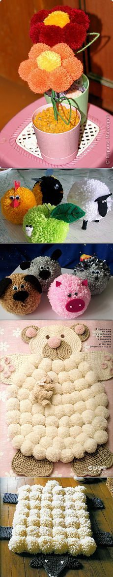 Crochet projects, diy for kids, crafts for kids, pom pom flowers, pom p Hobbies And Crafts, Diy And Crafts, Crafts For Kids, Arts And Crafts, Stick Crafts, Pom Pom Flowers, Pom Pom Rug, Pom Pom Crafts, Yarn Crafts