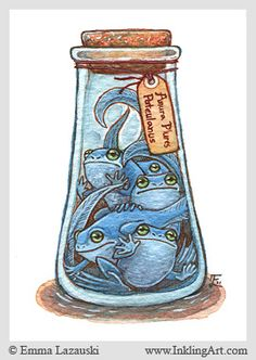 ACEO: Bottled Blue Frogs by emla.deviantart.com on @deviantART