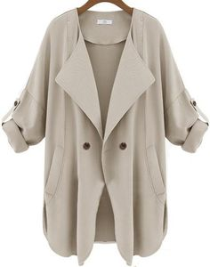 Apricot Long Sleeve Pockets Trench Coat pictures