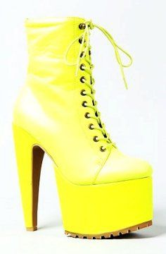 Neon High Heel Leather Boots for Women - High Heel Leather Boots for Women