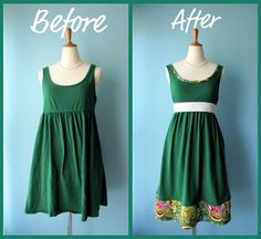 Before and After ReFashioned Dress ~~ This could be done with a long sleeve dress also. Possibilities!!!