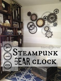 Steampunk Clock Tutorial Sawdust 2 Stitches I don't even know where or when I would do this, but it's so cool! Casa Steampunk, Steampunk Kitchen, Steampunk Bedroom, Steampunk Home Decor, Steampunk Crafts, Steampunk Clock, Steampunk Ceiling Fan, Steampunk Makeup, Steampunk Drawing