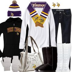 Bundle up for the big game in Minnesota Vikings winter fashion. Keep warm in layers with a cardinals hoodie, a beanie, a scarf, and cute and comfy winter boots. Nfl Vikings, Minnesota Vikings Football, Cincinnati Bengals, Sport Outfits, Fall Outfits, Cute Outfits, Viking Baby, Panthers Football, New Orleans Saints