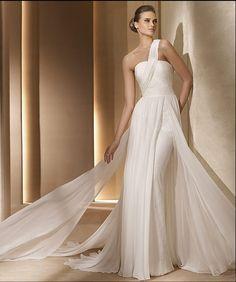 Chiffon Bodice shoulder Strapless Wedding dresses