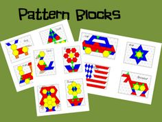 Pattern Blocks Printables--just as interesting as the printables is seeing how the patterns are put on top of that triangular gridded paper. THAT'S what I want a copy of!