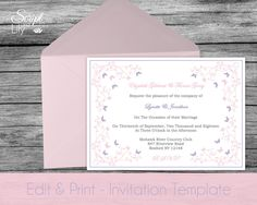 Butterfly Invitation Template | DOWNLOADABLE | EDITABLE Text | Wedding | Birthday | Pastel Pink and Purple | Word or Pages PC & Mac | 5x7' by ScriptAndLily on Etsy