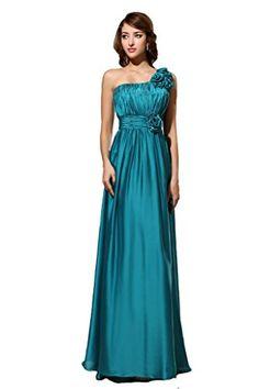 Kimgala Womens Elegant A Line One Shouler Ankle Length Pleated Satin Evening Dress Long