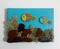 Fishes Acrylic Painting, Stone Painting, Fish Illustration, Mini Painting, Tiny Canvas, Tiny Art, Animal Painting