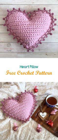Heart Pillow Free Crochet Pattern #crochet #yarn #crafts #home #homedecor #style #heart