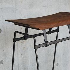 Steel and wood stool. hand forged. blacksmith. Artist Blacksmith studio ZWEI