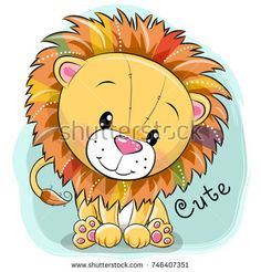 Illustration about Cute Cartoon Lion on a blue background. Illustration of cute, graphic, paper - 103014909 Gift Vector, Vector Art, Vector Graphics, Cute Cartoon Animals, Cute Animals, Lion Tribal, Lion Tigre, Cartoon Mignon, Cute Lion