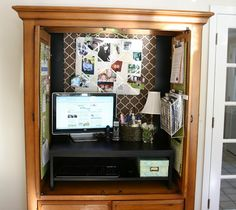 Repurposed tv armoire. Love the wire filing on the door.