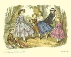 """1840s children's fashions """"Most sixteen year old wore gowns to the ankles, a fourteen year old skirts to the calves, but a 12 year old wore skirts to just below the knee. Not even the youngest child escaped the wearing of a crinoline supported skirt. By the 1840s those skirts were true crinoline style. They were pushed out with stiff starched petticoats and horsehair crin fabric petticoats in layers"""""""