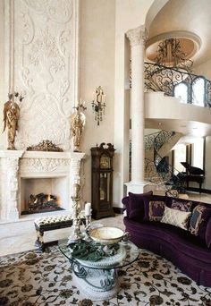 Absolutely stunning ornate fireplace. #marble #white #sittingroom