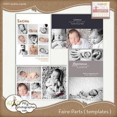 4 cards templates for annoucement photographer use or personal use