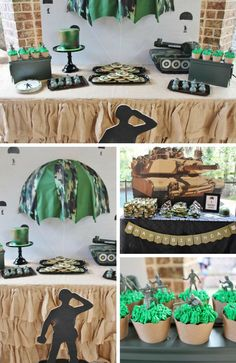 Army Themed Birthday, Army Birthday Parties, Army's Birthday, Birthday Party Themes, Camo Birthday Cakes, Military Send Off Party Ideas, Military Party, Army Party, Camo Party Decorations