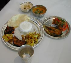A Bengali meal traditionally set up.