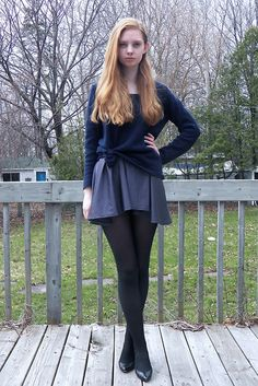 American Apparel Nylon Tricot Figure Skater Dress, Vintage Shoes, Thrifted Sweater