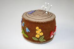 Hey, I found this really awesome Etsy listing at https://www.etsy.com/listing/168984396/wool-felt-woodland-tree-stump-pincushion