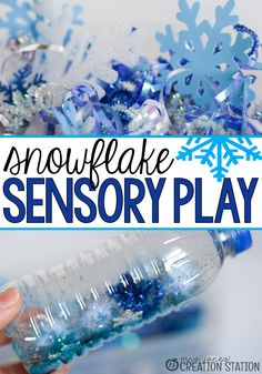 Toddler sensory play is important to help little ones experiment with different textures in their world. Our snowflake sensory tub and bottles have been a hit year after year. Sensory Bottles, Sensory Bins, Sensory Activities, Infant Activities, Sensory Play, Learning Activities, Activities For Kids, Sensory Rooms, Kindergarten Sensory
