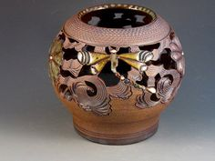 Stoneware Vase/Luminaire With Dragonflies Flowers by potmaker