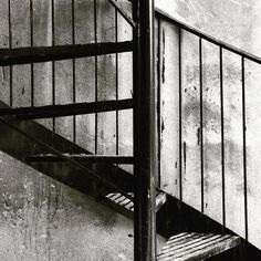 #Staircases (3/3)  Photo by Noëmie Forget. #minimal #minimalist #stairs #black #white #alley