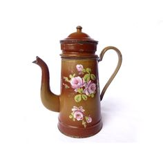 Rare enamel coffee pot vintage French 1920 Pot to former Café, caramel... ($120) ❤ liked on Polyvore featuring home, home decor, enamel pot, metal home decor, metal pot, brown home decor and rose home decor