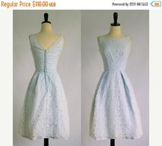 1950s Dress 50s Dress Lace Cocktail Dress Vintage Cut Work Dress Pale Blue Party Dress 1950s Clothing Womens Summer Dress XS Extra Small