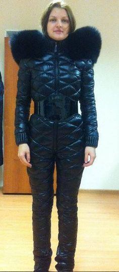 Nylons, Down Suit, Winter Suit, Puffy Jacket, Fur Collars, Catsuit, Leather Fashion, Winter Fashion, Overalls