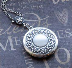 Silver Wreath Locket Necklace- Enchanted Moonstone - Jewelry by TheEnchantedLocket - BEAUTIFUL Wedding Best Friend Wife Gift. $29.00, via Etsy.