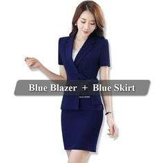 Belt Attached to Coat Blue 2 Pieces Skirt Suit Fashion Summer Style Short Sleeve Blazer Jacket & Skirt Women Work Wear