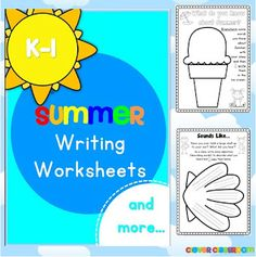 Summer Writing Worksheets K-1 - 73 pages $