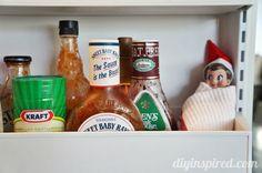 Wrapped up in the refridgerator shelf- Two Dozen Easy Elf on a Shelf Ideas
